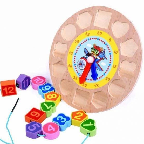 Ceas din lemn 2 in 1 pentru copii -  Ceas lemn cu forme geometrice 4