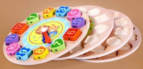 Ceas din lemn 2 in 1 pentru copii -  Ceas lemn cu forme geometrice 3