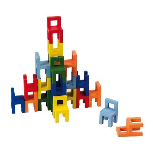 Joc din lemn Echilibru Scaunele colorate Goki 6