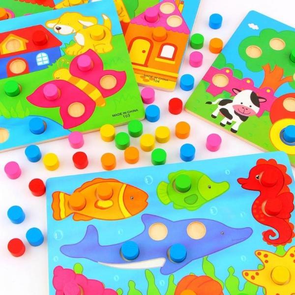 Set 3 planse Joc din lemn sa potrivim culorile 0