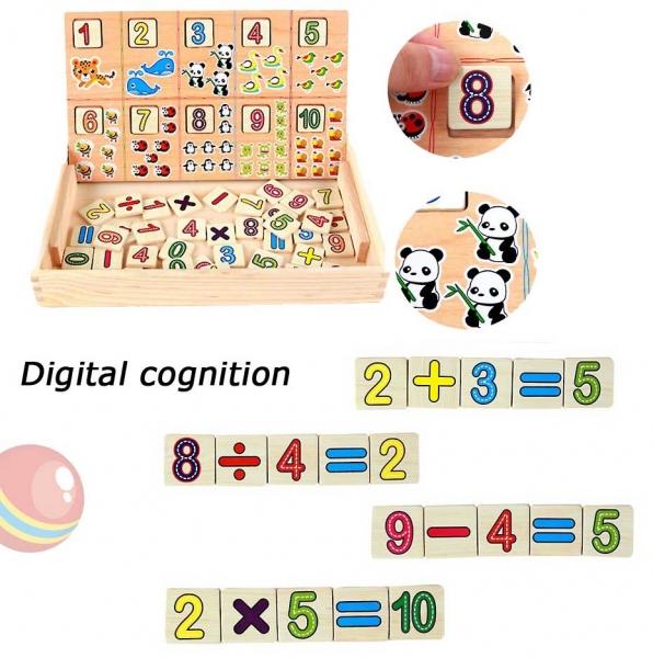 Tabla educativa 3 in 1 din lemn cu cifre si operatii matematice 3