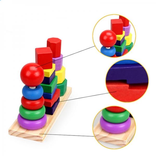 Joc din lemn 3 coloane sortare forme geometrice [3]