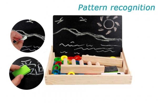 Tabla educativa 3 in 1 din lemn cu cifre si operatii matematice 6