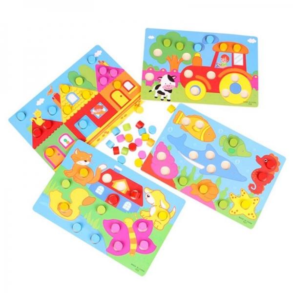 Set 3 planse Joc din lemn sa potrivim culorile 1