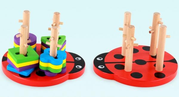 Joc din lemn 4 coloane sortator Buburuza [3]