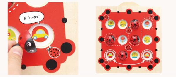 Joc de Memorie din Lemn Ladybug - Joc de memorie din lemn cu planse 1