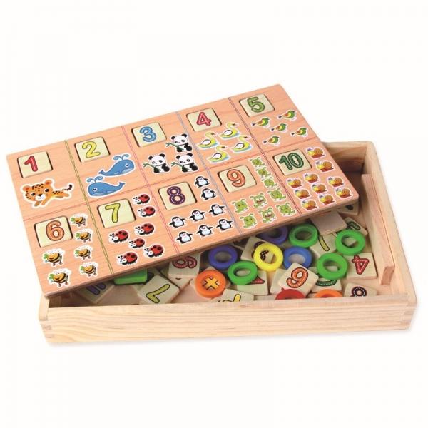 Tabla educativa 3 in 1 din lemn cu cifre si operatii matematice 2