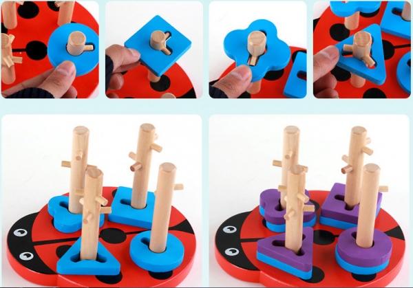Joc din lemn 4 coloane sortator Buburuza [2]