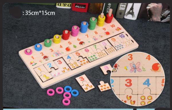 Joc din lemn asociere numere stivuire Digital Shape 2