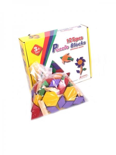 Joc din lemn Tangram Puzzle Blocks 125 piese 0