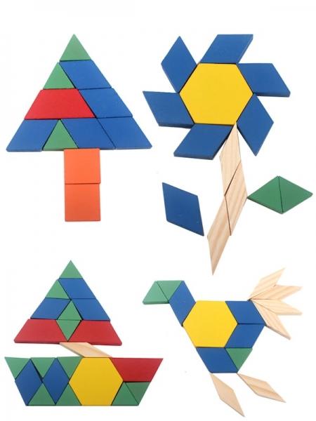 Joc din lemn Tangram Puzzle Blocks 125 piese 1