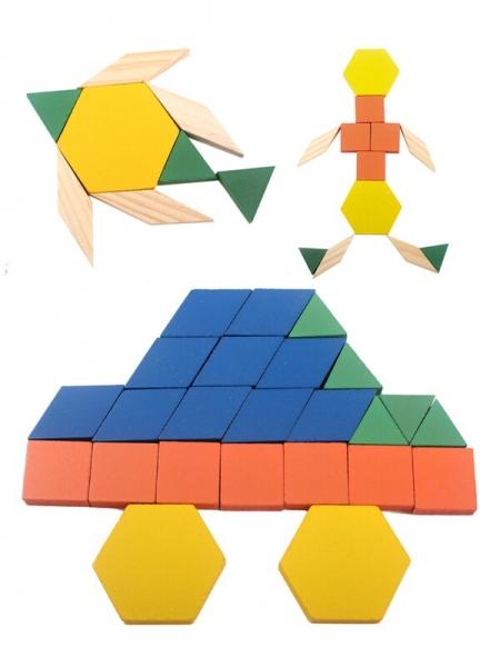 Joc din lemn Tangram Puzzle Blocks 125 piese 4