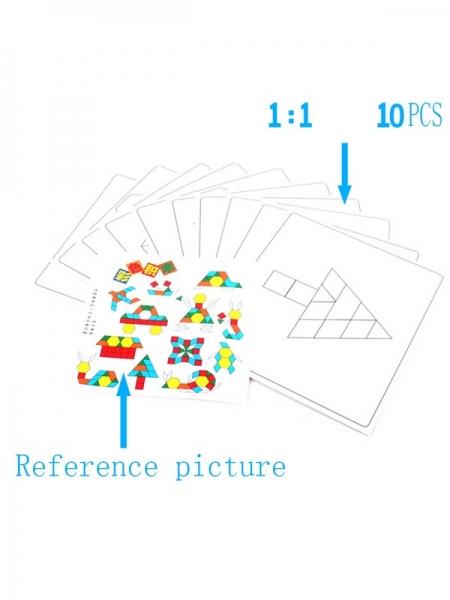 Joc din lemn Tangram Puzzle Blocks 125 piese 5