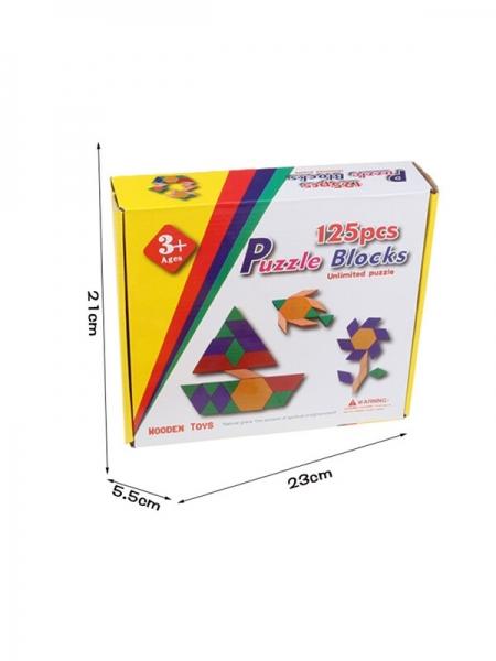 Joc din lemn Tangram Puzzle Blocks 125 piese 2