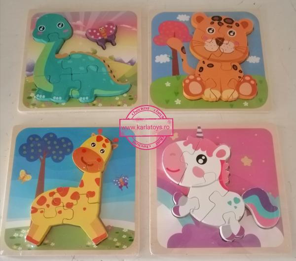 Set 4 Puzzle de Lemn Animale - Puzzle Animale 3D set [0]