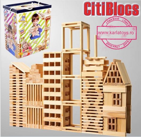 Joc de construit din lemn natur 300 de piese 0