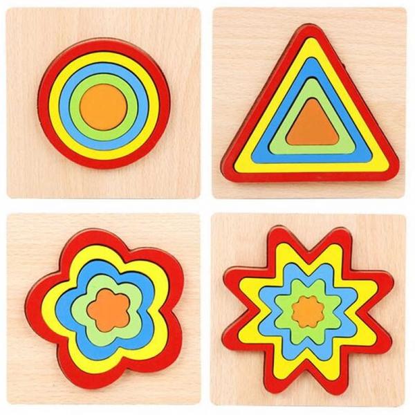 Set 2 Puzzle lemn 3D Curcubeu forme si culori 15