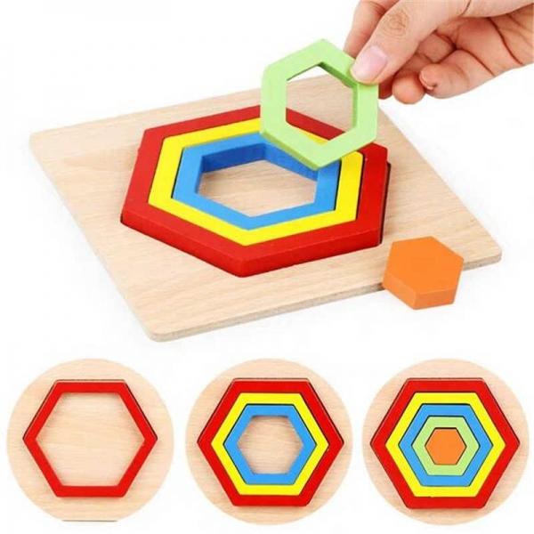 Set 2 Puzzle lemn 3D Curcubeu forme si culori 14