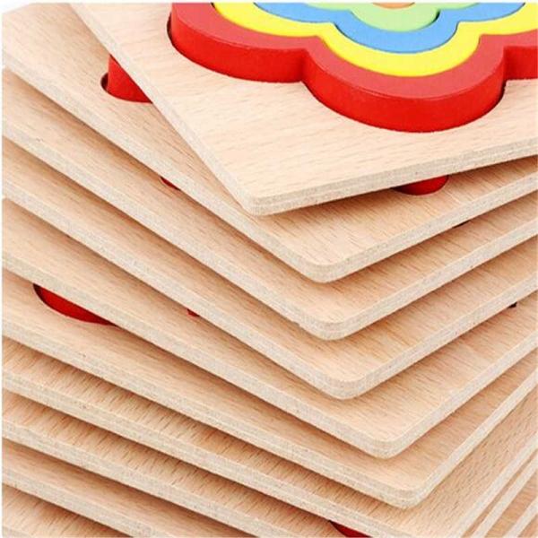 Set 2 Puzzle lemn 3D Curcubeu forme si culori 13