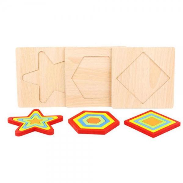 Set 2 Puzzle lemn 3D Curcubeu forme si culori 12