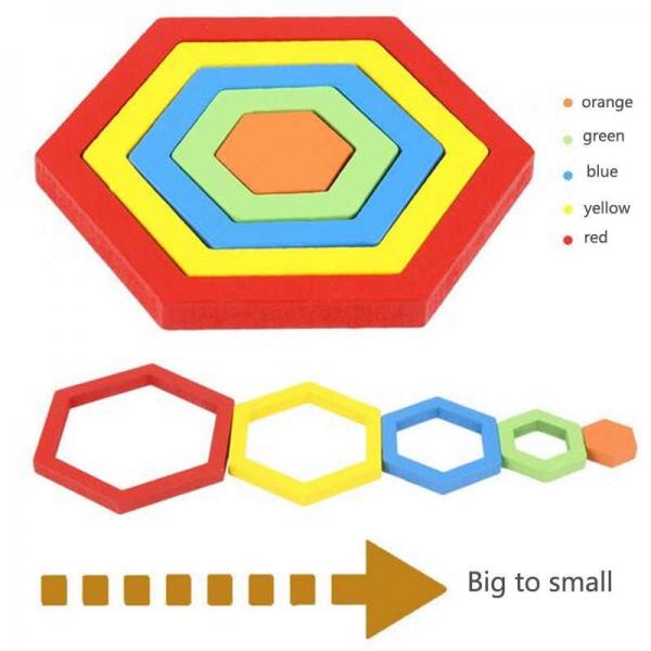 Set 2 Puzzle lemn 3D Curcubeu forme si culori 16