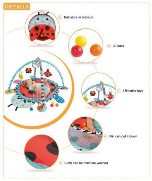 Saltea activitati bebe si centru de joaca cu bile 3 in 1 4