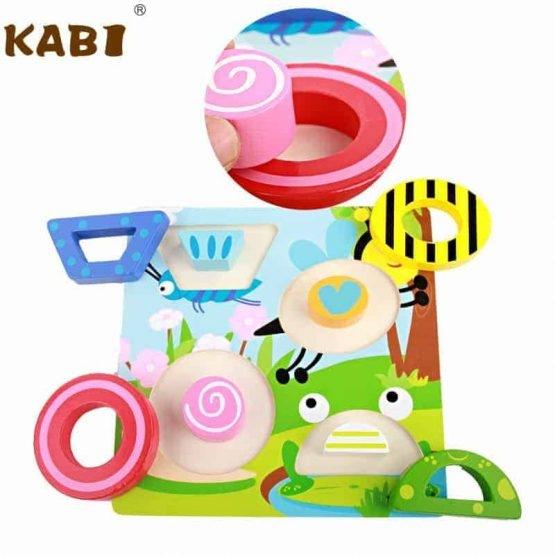 Set 4 puzzle din lemn 2 straturi Kabi 2
