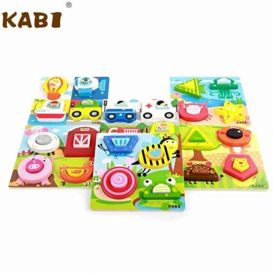 Set 4 puzzle din lemn 2 straturi Kabi 0