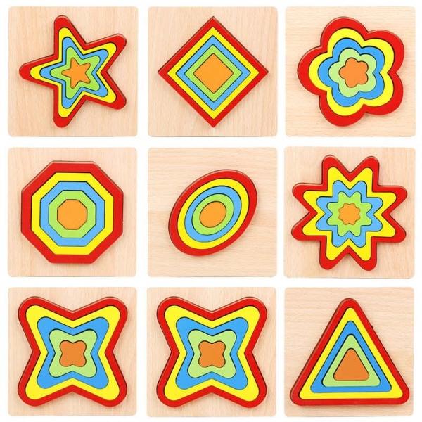 Set 2 Puzzle lemn 3D Curcubeu forme si culori 11