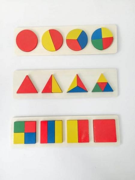 Set 3 puzzle forme geometrice din lemn Motessori 5