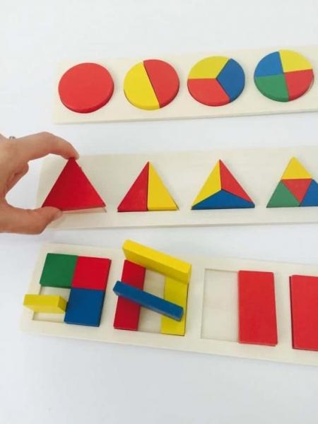Set 3 puzzle forme geometrice din lemn Motessori 4