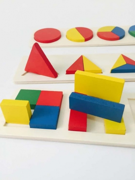 Set 3 puzzle forme geometrice din lemn Motessori 3