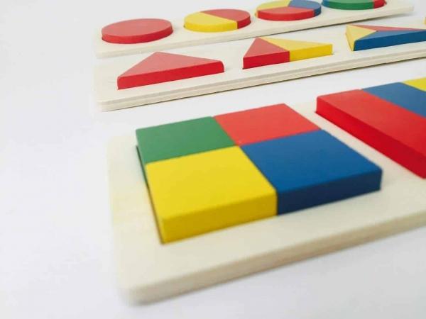 Set 3 puzzle forme geometrice din lemn Motessori 2