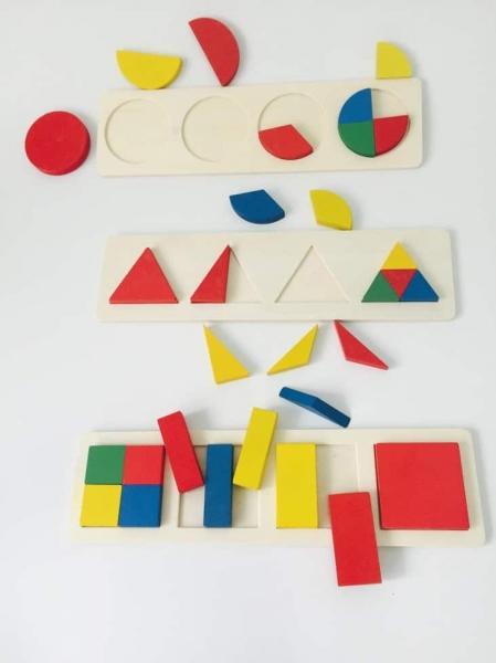 Set 3 puzzle forme geometrice din lemn Motessori 1