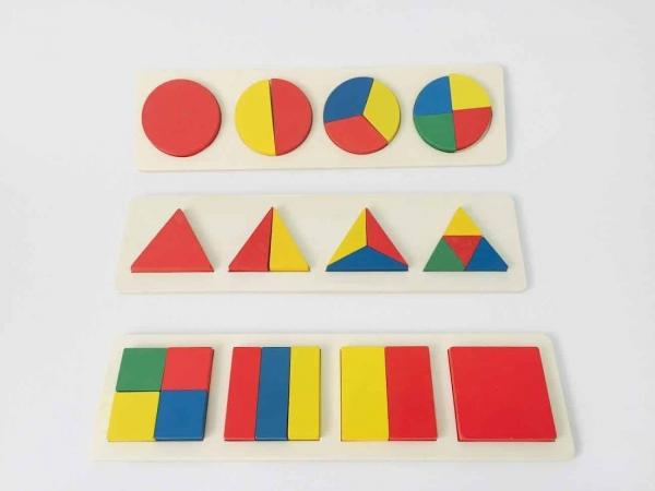 Set 3 puzzle forme geometrice din lemn Motessori 0