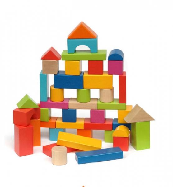 Set cuburi colorate din lemn  100 de piese 2
