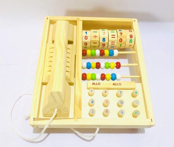 Jucarie lemn Telefon multifunctional cu abac 0