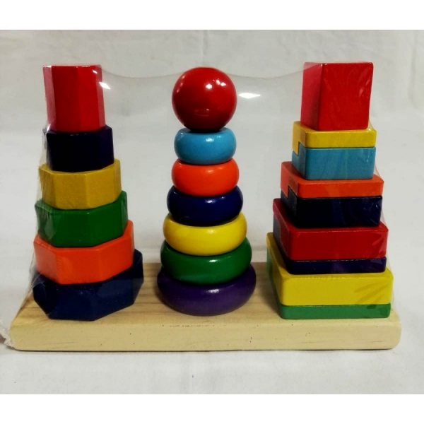 Joc din lemn 3 coloane sortare forme geometrice [1]