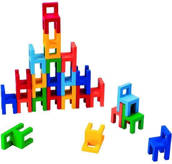 Joc din lemn Echilibru Scaunele colorate Goki 0