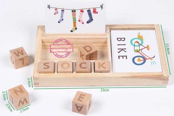 Set Blocuri din lemn Litere si Cartonase [7]