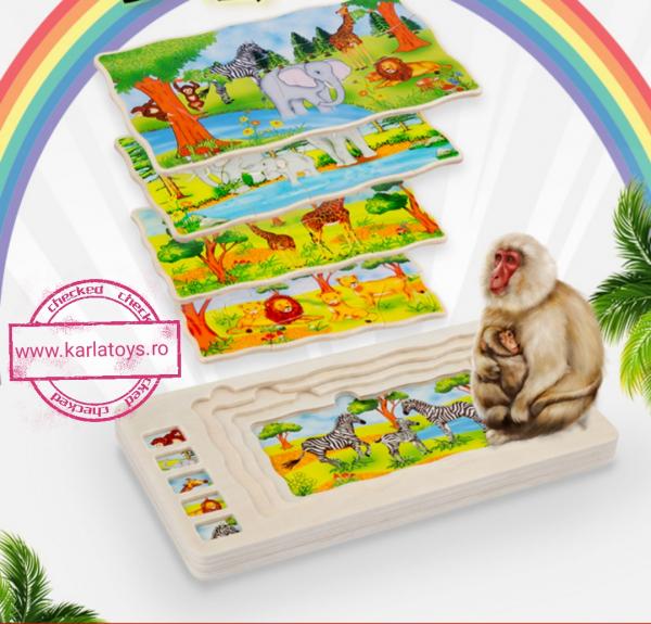 Joc din lemn Puzzle in straturi Onshine Animale 2