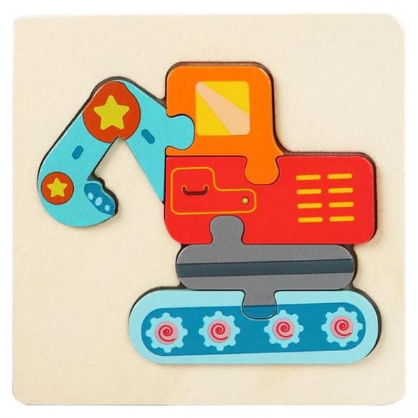 Mini Puzzle din lemn Animale si Vehicole 3d 11