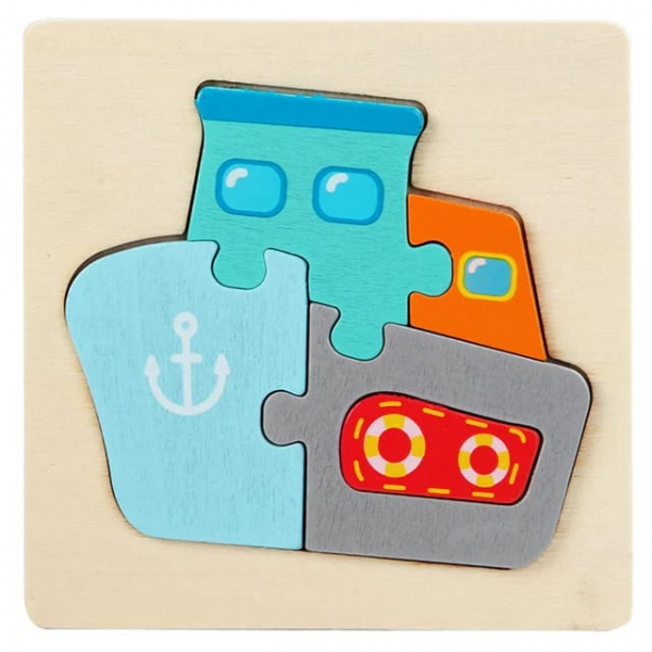 Mini Puzzle din lemn Animale si Vehicole 3d 7