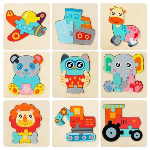 Mini Puzzle din lemn Animale si Vehicole 3d 1