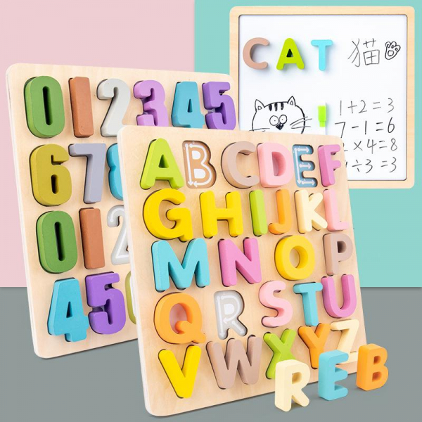 Tabla din lemn Mltifunctionala Alfabet sau Cifre 2 in 1 0