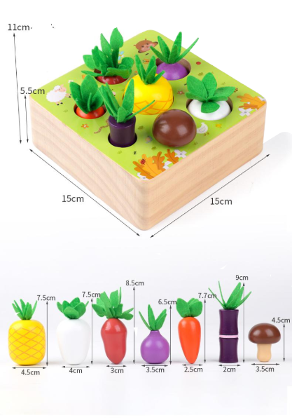 Joc interactiv Motricitate - Joc  lemn legume si fructe Happy Farm 1
