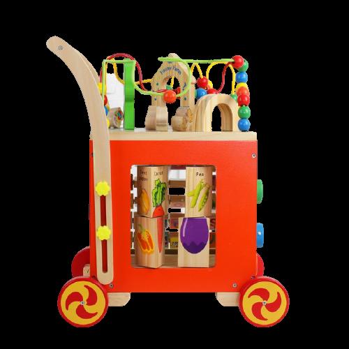 Antepremergator din lemn cu Activitati 6 in 1 - Cub Educativ Antepremergator din Lemn 6 in 1 4