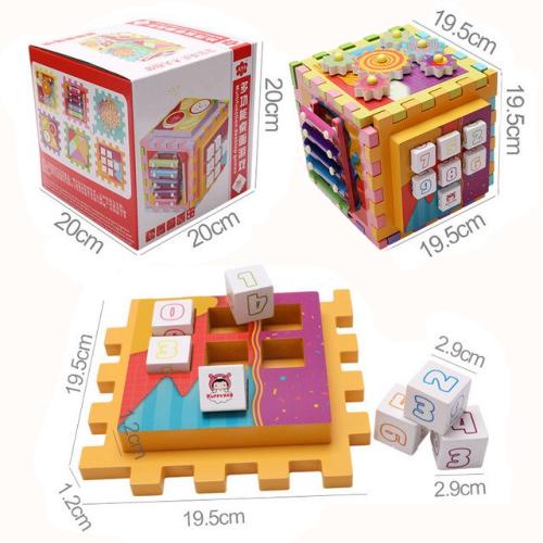 Joc Cub din lemn multi-functional 6 in 1  Puzzle 6