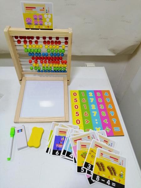 Abac cu tabla cu 2 fete din lemn cu accesorii 4 in 1 11