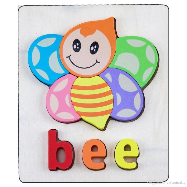 Set 2 Puzzle Educational din Lemn 3D Imagini cuvinte in Engleza. 5